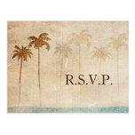 Rustic Palm Trees Beach Wedding rsvp Postcard