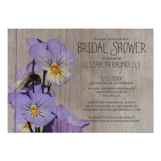 Rustic Pansies Bridal Shower Invitations Personalized Invitation