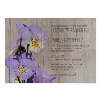 Rustic Pansies Wedding Invitations