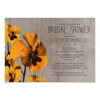 Rustic Pansy Bridal Shower Invitations