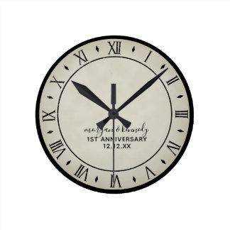 Rustic Paper 1st Wedding Anniversary Wall Clock