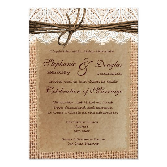 Best Paper Weight For Wedding Invitations: Rustic Paper Burlap Lace Print Wedding Invitations