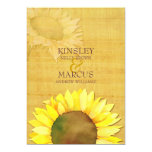 Rustic Papyrus & Watercolor Sunflowers Wedding Personalized Invite