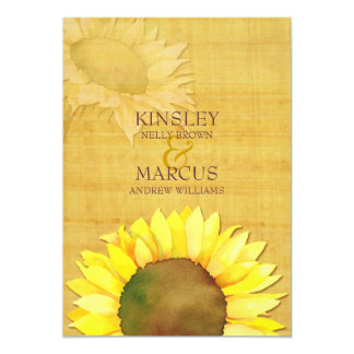 "Rustic Papyrus & Watercolor Sunflowers Wedding 5"" X 7"" Invitation Card"