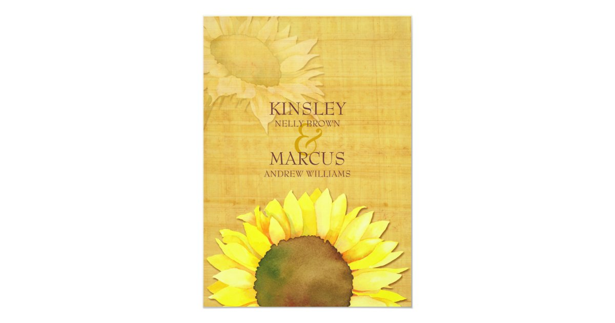 Papyrus Wedding Invitations: Rustic Papyrus & Watercolor Sunflowers Wedding Invitation