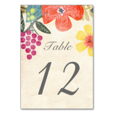 Rustic Paradise Table Number Card Table Card