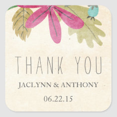Rustic Paradise Thank You Favor Stickers