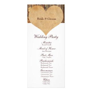Rustic Parchment Heart Wood Wedding Program