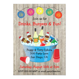 Rustic Party Drinks Invitations