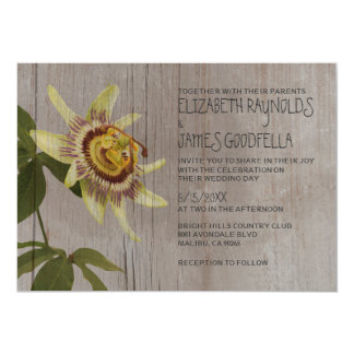 Rustic Passion Flower Wedding Invitations