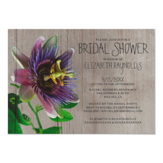 Rustic Passion Flowers Bridal Shower Invitations