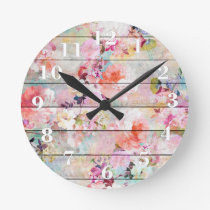 Rustic pastel floral watercolor striped wood round clock