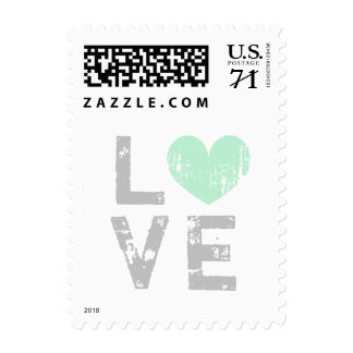 Rustic pastel love heart wedding postage stamps