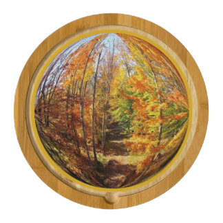 Rustic Path in a Mid-Autumn Forest Globe Design Cheese Platter