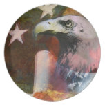 Rustic Patriotic Eagle and Flag Dinner Plate Dinner Plates