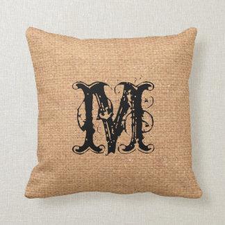 Rustic Pattern Black Monogram Light - Shabby Chic Pillows
