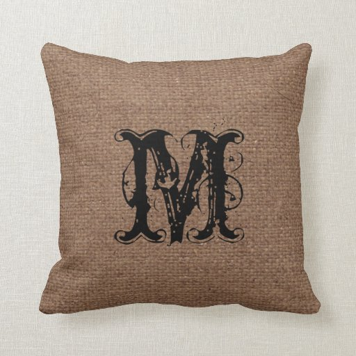 Throw Pillows Ross : Rustic Pattern Black Monogram - Shabby Chic Throw Pillow Zazzle