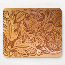 Rustic pattern western country tooled leather mouse pad