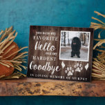 """Rustic Paw Prints Personalized Pet Memorial Photo Plaque<br><div class=""""desc"""">This memorial sign is the perfect way to express a memory of a furry loved one never to be forgotten. Beautiful quote, angel wings, paw prints and your own photo. Can be made for dog, cat or any other pet who is gone but not forgotten. Honor the memory of your...</div>"""