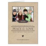 Rustic Peace & Love Christmas Photo Folded Card