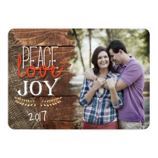 Rustic Peace Love Joy Merry Christmas Photo Card