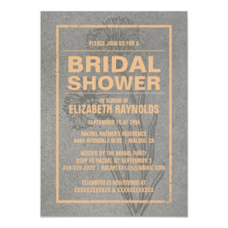 Rustic Peach Bridal Shower Invitations Cards