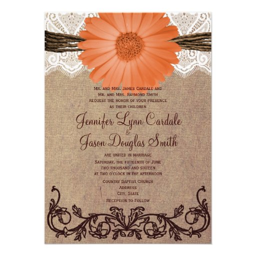 Rustic Peach Coral Daisy Flower Wedding Invitation Custom Invitations