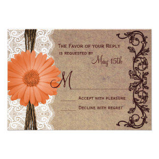 Rustic Peach Coral Daisy Flower Wedding RSVP Cards