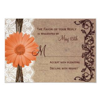 Rustic Peach Coral Daisy Flower Wedding RSVP Cards Custom Invitation