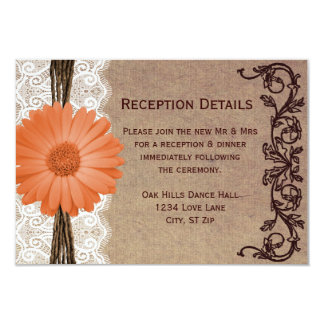 Rustic Peach Daisy Flower Wedding Reception Cards Personalized Announcement