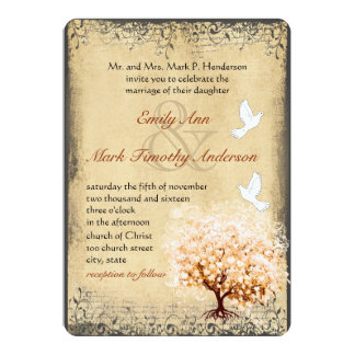 Rustic Peach Tree Dove Love Bird Weddings Card
