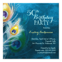 Rustic Peacock Blue 50th Birthday Party Card