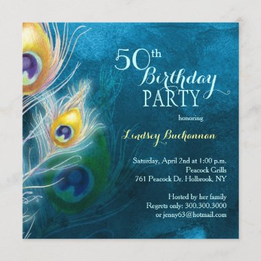 Rustic Peacock Blue 50th Birthday Party Invitation