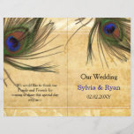 """Rustic Peacock Feather bookfold Wedding program<br><div class=""""desc"""">Rustic Peacock Feather bifold wedding program, you will have to manually fold these programs. click &quot;clear&quot; on you right if you want to remove folding lines on front and back these folding lines are given to guide you that none of your text runs into other side. Matching products also available....</div>"""