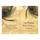 Rustic Peacock Feather bookfold Wedding program