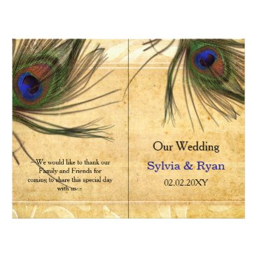 Rustic Peacock Feather bookfold Wedding program
