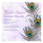 Rustic Peacock Feather Bridal Shower Invitations Personalized Invite
