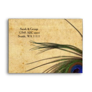 "Rustic Peacock Feather enevlopes  7 ¼""  x 5 ¼"" Envelope"