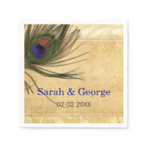 Rustic Peacock Feather personalized napkins