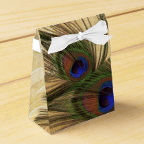Rustic Peacock Feather wedding favor box