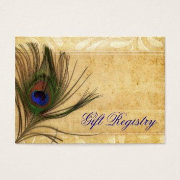 Rustic Peacock Feather wedding gift registry Business Card