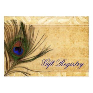Rustic Peacock Feather wedding gift registry Large Business Card