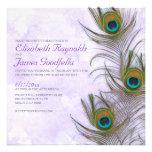 Rustic Peacock Feather Wedding Invitations Custom Invitations