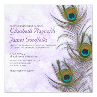 Rustic Peacock Feather Wedding Invitations