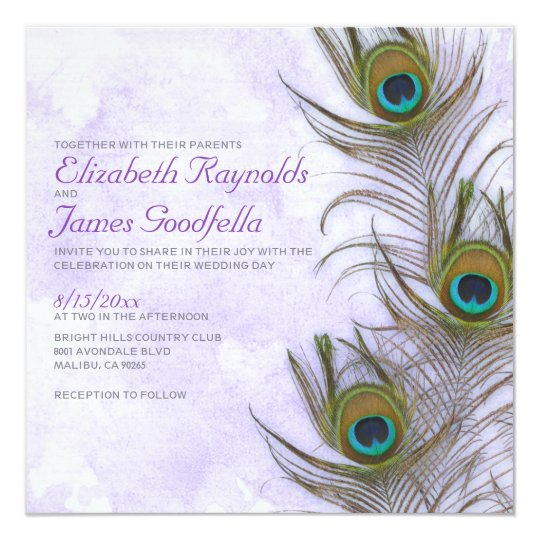 Rustic Peacock Feather Wedding Invitations Zazzle Com