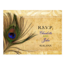 Rustic Peacock Feather wedding invitations rsvp