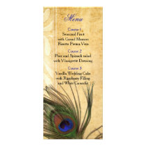 Rustic Peacock Feather wedding menu