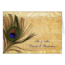 Rustic Peacock Feather Wedding Place Cards