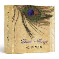 Rustic Peacock Feather wedding Planner Binder