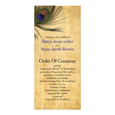 Rustic Peacock Feather wedding programs